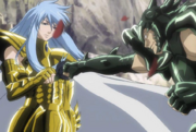Albafica detiene el puño de Niobe