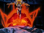 Hyoga huyendo del ataque de Babel