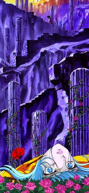 Afrodita muerto, Ikki y Shun subiendo las escaleras hacia el Templo de Abel