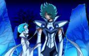 Eden y Aria en las ruinas de oscuridad