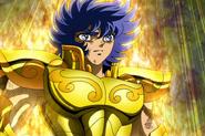 Ikki portant l'Armure du Lion pour la première fois