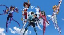 Los cinco protagonistas de Saint Seiya