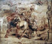 Hector es asesinado por Aquiles (mitologia)