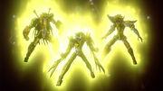 Seiya, Shiryu y Hyoga portando sus Gold Cloths en la tercera película