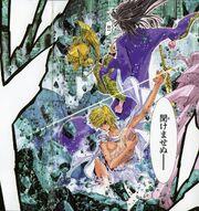 Aioros evitando la muerte de Saori a manos de Saga
