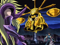 Armadura de Libra surge para proteger Dohko e Shiryu de Shion