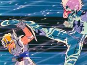 Hyoga vs Cavaleiro de Cristal