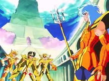 Seiya, Shiryu e Hyoga vestem Armaduras de Ouro para enfrentar Poseidon