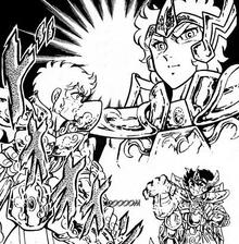 Aolia, Aiolos e Seiya Mangá 1