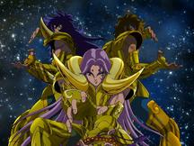 Exclamação de Atena com Aiolia, Mu e Milo