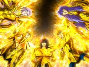 Os Cavaleiros de Ouro unem forças para derrubar o Muro das Lamentações (1 tentativa)
