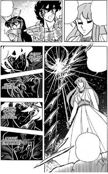 Saori, tendo plena ciência de ser Atena, manifesta seu cosmo-divino aos Cavaleiros