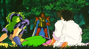 Aiolia encontra Seiya e Shaina