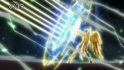 Seiya utilizando a sua Tecnica Cosmic Star Arrow