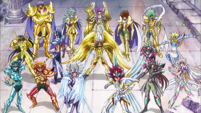 Os Cavaleiros do Zodíaco ao redor da deusa Atena