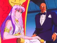 Saori, na companhia de Tatsumi, assiste a Guerra Galáctica