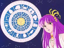 Saori explica aos expectadores da Guerra Galáctica sobre os Cavaleiros