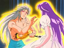 Usando o Báculo de Atena, Saga se suida