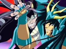 Flégias detém o Cólera do Dragão de Shiryu