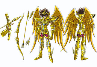 Seiya com sua nova armadura e com arco de sagitário