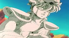 Seiya é petreficado por Algol