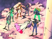 Os Cavaleiros de Bronze Menores fazem a proteção de Saori