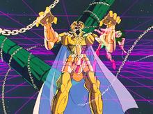 Saga atacando Shun com a Outra Dimensão