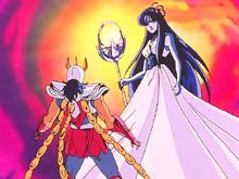 Saori auxilia Ikki no combate contra Shiva e Ágora