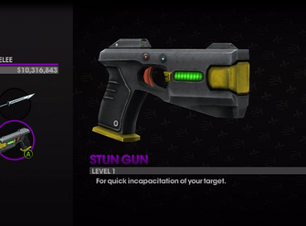 Stun Gun description in the Weapons Cache