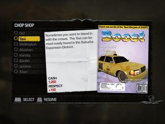 Taxi - Downtown Chop Shop list in Saints Row 2