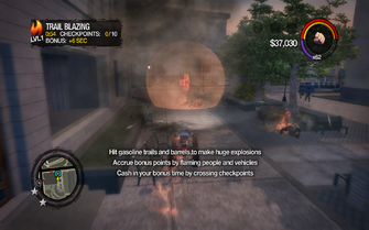 Trail Blazing on-screen text in Saints Row 2