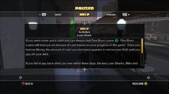 Loan Shark help text - top