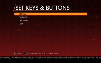 Saints Row Gat out of Hell - Main Menu - Options - Controls - Set Keys & Buttons