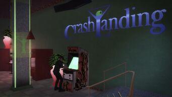 Crash Landing - sign and Zombie Uprising