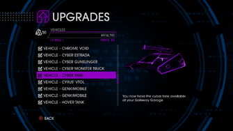 Upgrades menu in Saints Row IV after unlockitall - Cyber Tank
