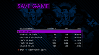 Save Game screen in Saints Row IV