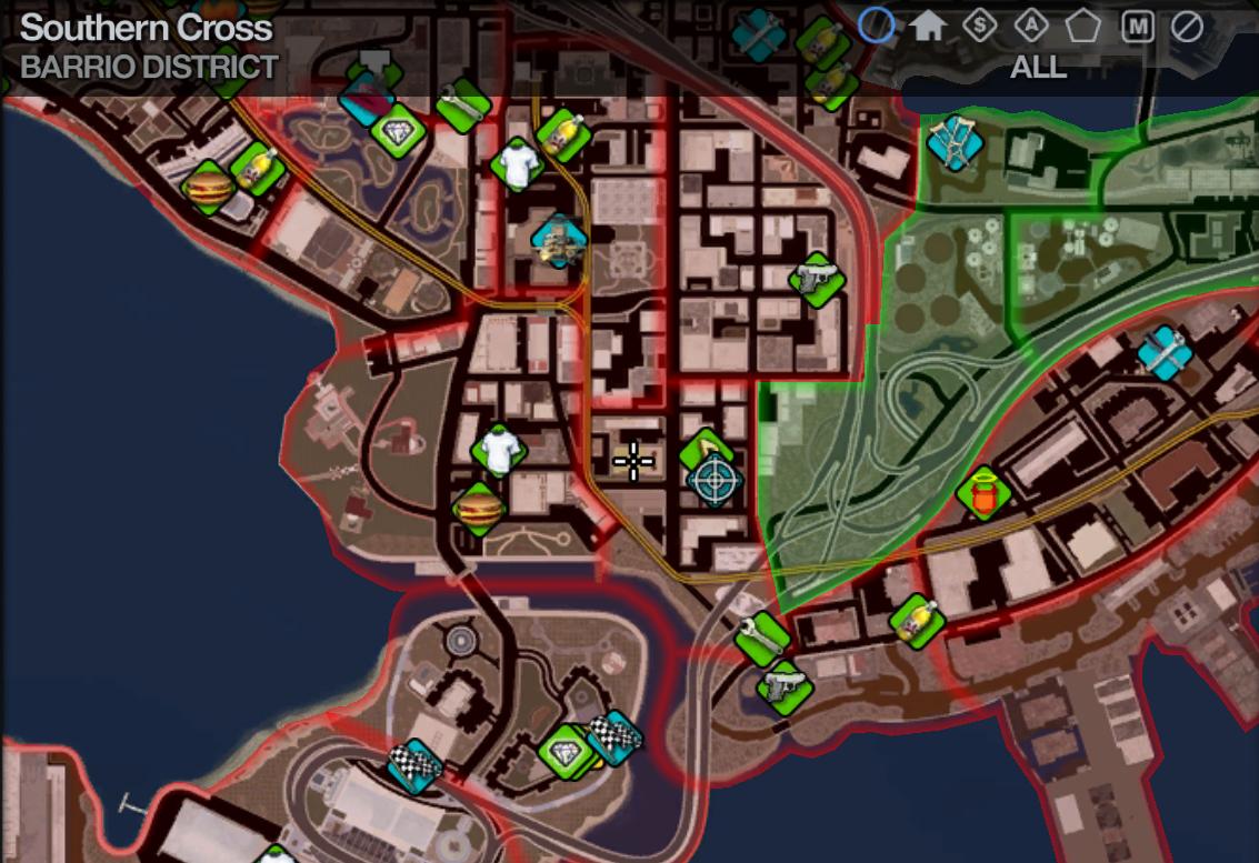 Map in Saints Row 2 Barrio