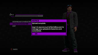 Character Gallery upload complete in Saints Row The Third