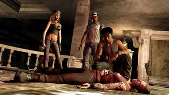 Shaundi in Saints Row 2 promo with dead Matt