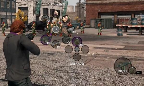 K-8 Krukov in radial inventory in Saints Row The Third gameplay preview