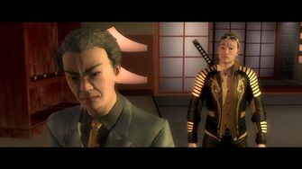 Kanto Connection - Kazuo Akuji facing away from Shogo Akuji