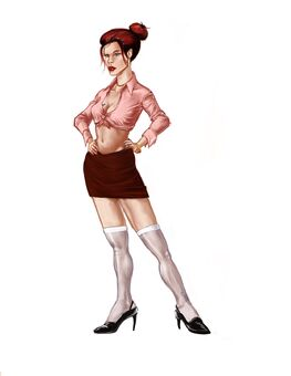 Jessica Concept Art 02 - Pink midrif with white knee high socks