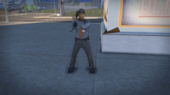 Ultor Security Guard holding pistol