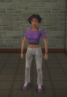 Gang Customization - 80s - female soldier - hispanic - stretched shirt