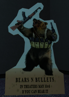 The Big Picture theater - Bears N Bullets sign