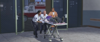 Bleeding Out - Gat being wheeled into the hospital