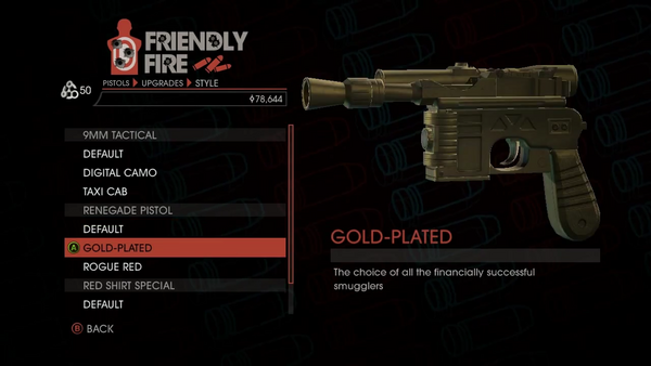 Weapon - Pistols - Quickshot Pistol - Renegade Pistol - Gold-Plated