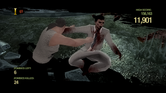Zombie Uprising - shoving a Zombie away
