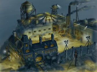 Concept Art of Stilwater Penitentiary entrance from above at night