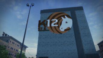 K12 FM 97.6 - large logo on building